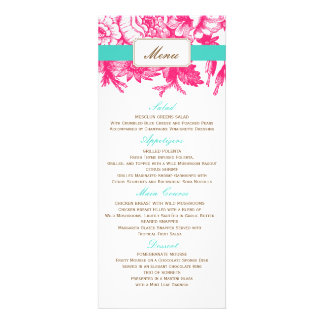 Luxe Floral Wedding Menu in Pink Blue Invitations