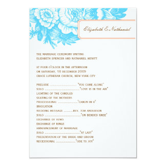 Luxe Floral Wedding Program in Blue & Orange