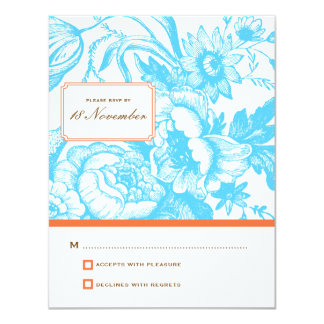 Luxe Floral Wedding RSVP in Blue & Orange Card