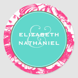 Luxe Floral Wedding Sticker in Pink and Blue
