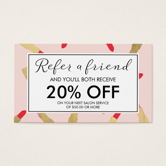 Luxe Glam Lipstick Pattern on Pink Referral Card