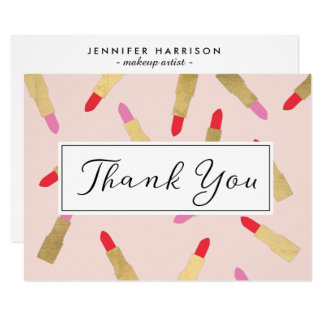 Luxe Glam Lipstick Pattern on Pink Thank You Card 11 Cm X 16 Cm Invitation Card