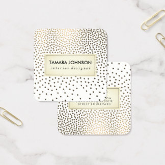 Luxe Gold Speckled Pattern Square Business Card