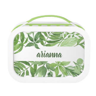 Luxe Leaves   Green Botanical Frame Lunch Box