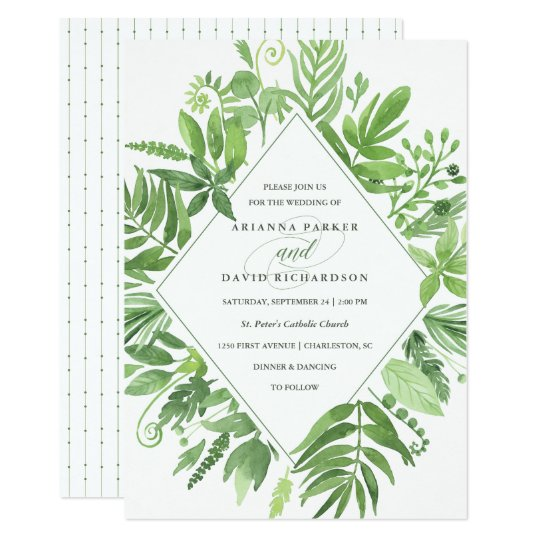 Luxe Leaves | Green Botanical Wedding Card