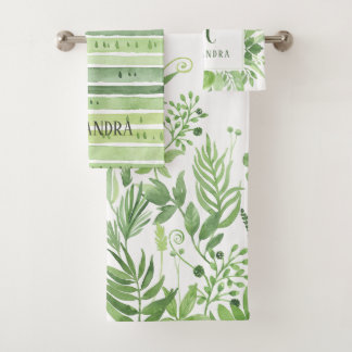 Luxe Leaves | Green Botanicals and Monogram Bath Towel Set