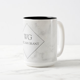 Luxe Minimalist Chic White Marble Monogram Two-Tone Coffee Mug