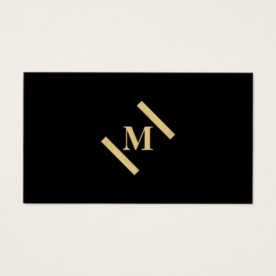 Luxe Minimalist Monogram Gold/Black Business Card