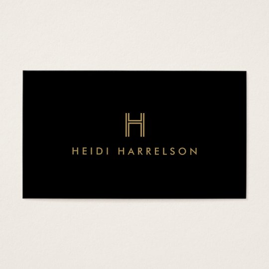 LUXE MODERN BLACK AND GOLD INITIAL MONOGRAM LOGO