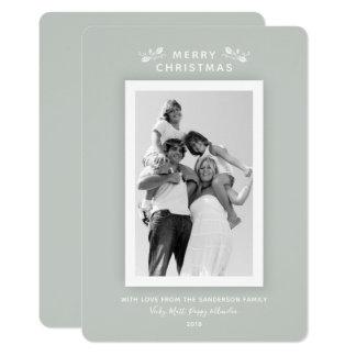 Luxe Modern Minimal Gray Green Christmas Photo Card