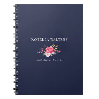 Luxe Navy and Pink Botanical Flowers Notebook