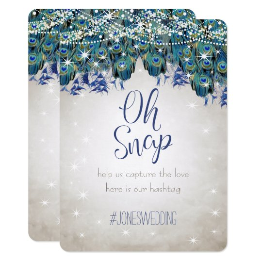 Luxe Peacock Navy Aqua Silver Wedding Hashtag Card