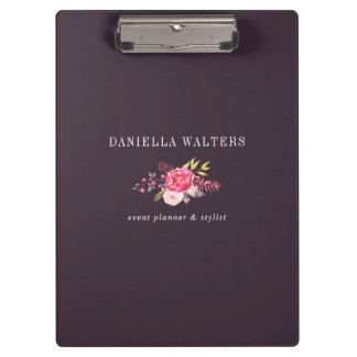 Luxe Plum and Pink Botanical Flowers Clip Board