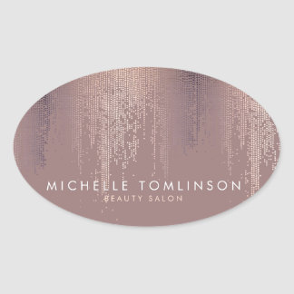 Luxe Rose Gold Confetti Rain Pattern Oval Sticker