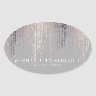Luxe Shimmer Look Confetti Rain Pattern Gray Oval Sticker
