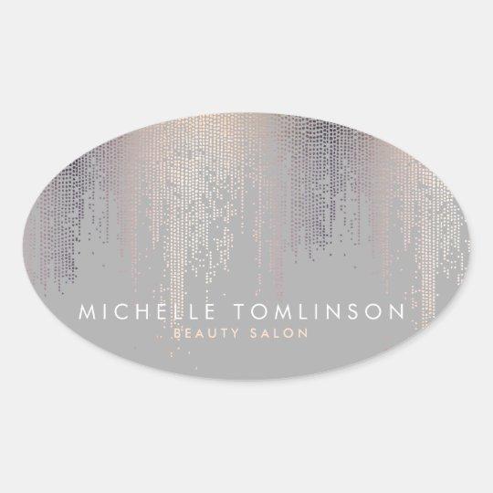 Luxe Shimmer Look Confetti Rain Pattern Grey Oval