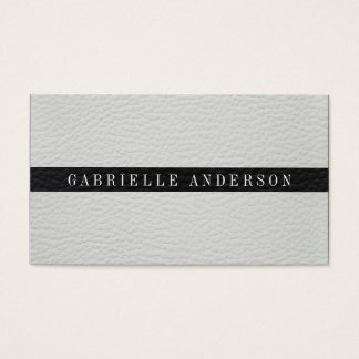 Luxe Simple White and Black Leather Business Card