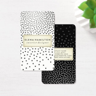 Luxe Speckled Pattern Black and White Business Card