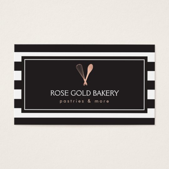 Luxe Striped Rose Gold Whisk Spoon Logo Bakery