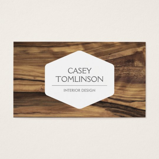 LUXE VINTAGE MODERN WOODGRAIN DESIGNER BUSINESS CARD