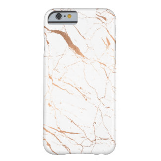Luxe White and Rose Gold Marble Barely There iPhone 6 Case