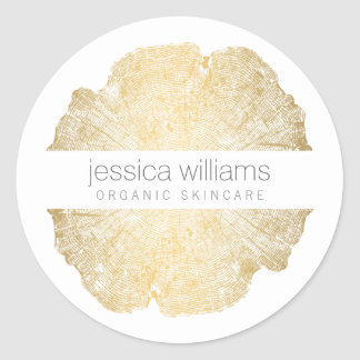 Luxe Wood Effect Art Round Sticker