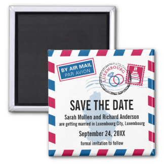 Luxembourg Air Mail Wedding Save the Date Square Magnet