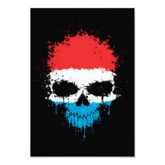 Luxembourg Dripping Splatter Skull Personalized Announcements