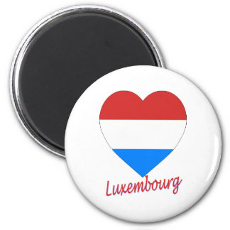 Luxembourg Flag Heart 6 Cm Round Magnet