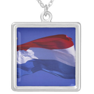 Luxembourg flag RF) Silver Plated Necklace
