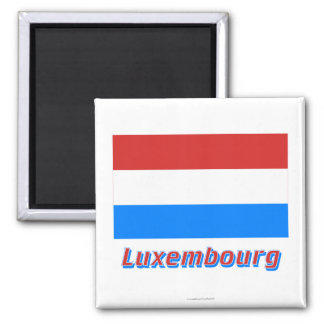 Luxembourg Flag with Name Square Magnet