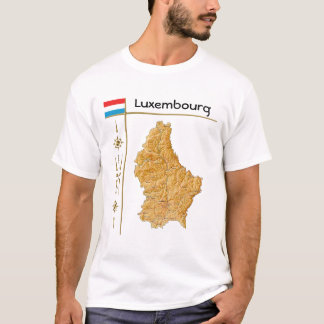 Luxembourg Map + Flag + Title T-Shirt