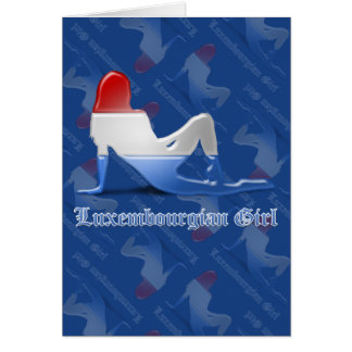 Luxembourgian Girl Silhouette Flag Greeting Card