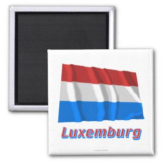 Luxemburg Fliegende Flagge mit Namen Magnet