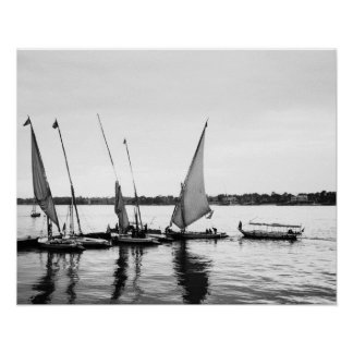 Luxor Egypt, Feluccas on the Nile 2 Poster