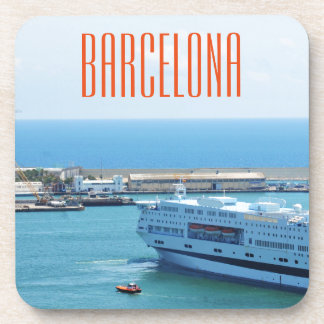 Luxurious cruise ship leaving Barcelona harbour Coaster