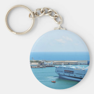 Luxurious cruise ship leaving Barcelona harbour Key Ring