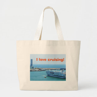 Luxurious cruise ship leaving Barcelona harbour Large Tote Bag