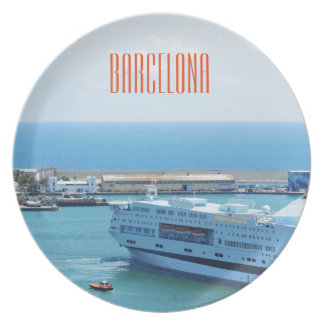 Luxurious cruise ship leaving Barcelona harbour Plate