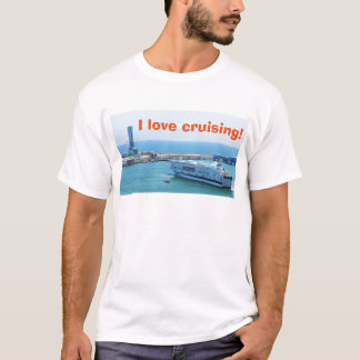 Luxurious cruise ship leaving Barcelona harbour T-Shirt