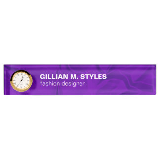 Luxurious Crushed Purple Satin Name Plate