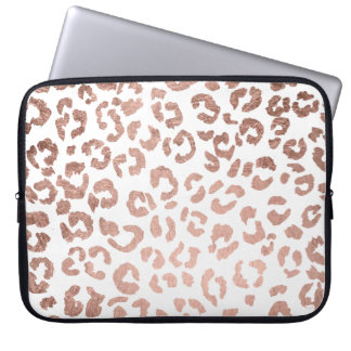 Luxurious hand drawn rose gold leopard print laptop sleeve