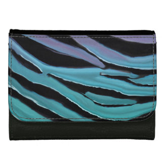 Luxurious Lavender Turquoise Teal Tiger Print Leather Wallet