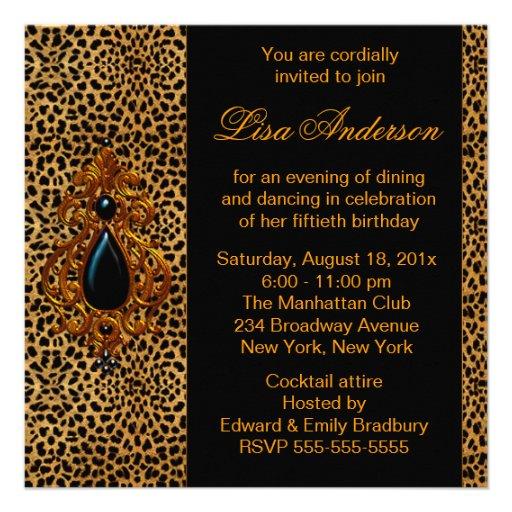 Luxurious Leopard Birthday Party Custom Announcements