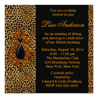 Luxurious Leopard Birthday Party 5.25x5.25 Square Paper Invitation Card