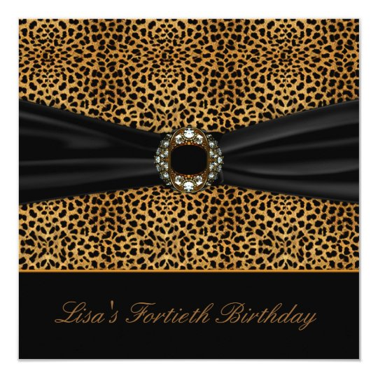 Luxurious Leopard Womans 40th Birthday Party Card