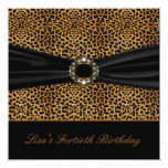 Luxurious Leopard Womans 40th Birthday Party Personalised Announcement