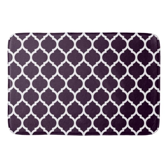 Luxurious Plum Purple Moroccan Quatrefoil Pattern Bath Mat