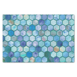 Luxury Aqua blue honeycomb pattern Tissue Paper
