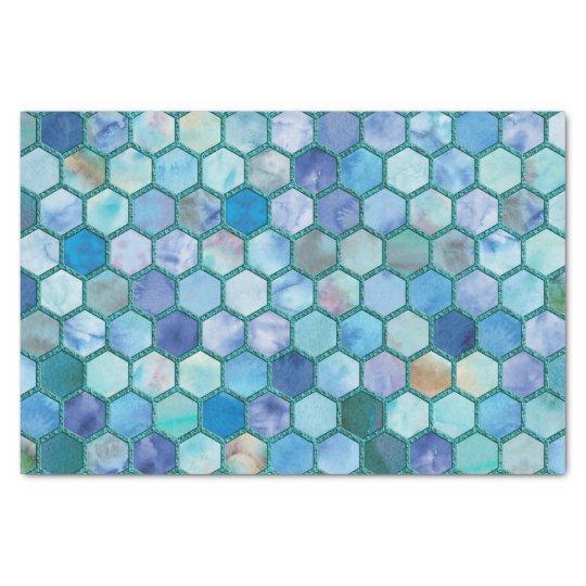 Luxury Aqua blue honeycomb pattern Tissue Paper